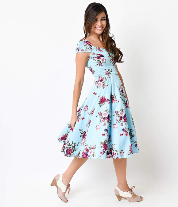 1950s Style Blue Floral Cap Sleeve Royal Ballet Swing Dress