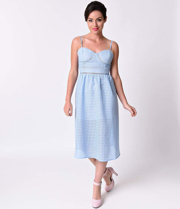 1950s Style Dusty Blue Sheer Checkered Peek-A-Boo Midi Swing Dress