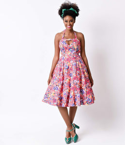 1950s Style Pink Floral Halter Garden Beauty Stretch Swing Dress