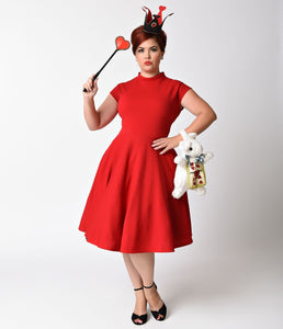 1950s Style Plus Size Red High Neck Sleeveless Swing Dress