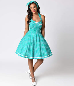 1950s Style Teal Green Polka Dot Halter Swing Dress