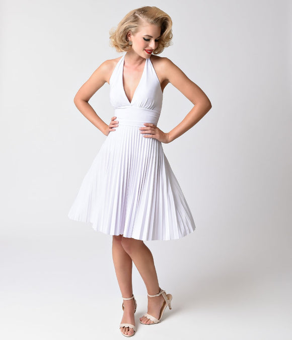 1950s Style White Pleated Marilyn Halter Dress