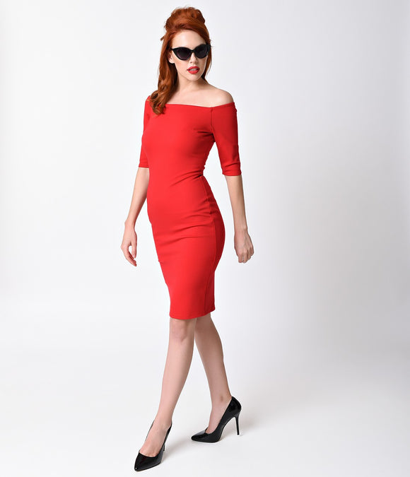 1960s Style Red Sleeved Bardot Stretch Wiggle Dress