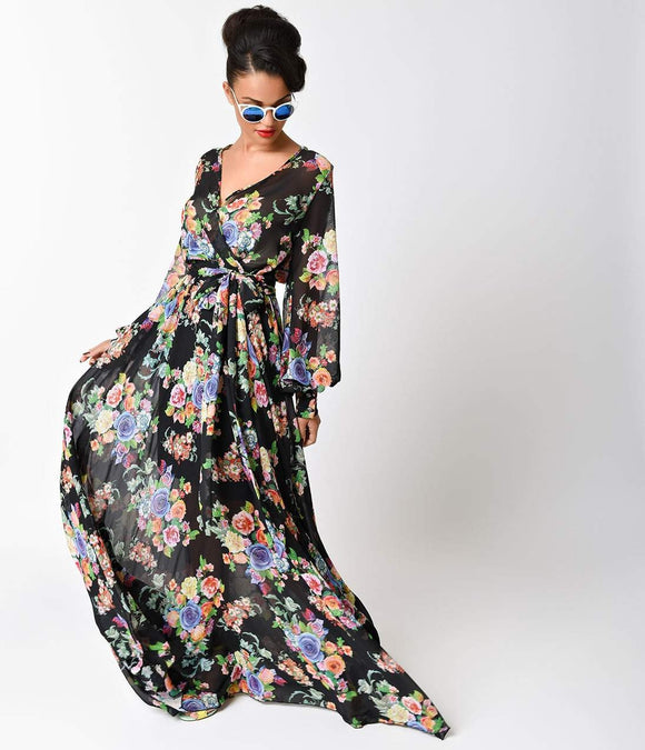 1970s Style Black Floral Long Sleeve V-Neck Maxi Dress