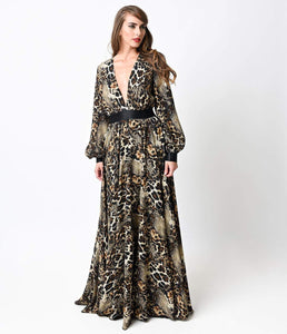 1970s Style Leopard Long Sleeve Belted Maxi Dress