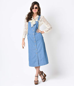 1970s Style Light Blue Denim Button Up Overall Jumper Dress