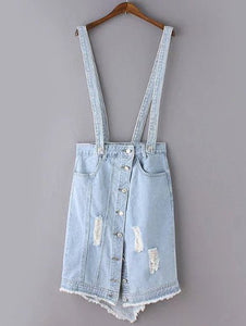 Material: Jeans,Polyester  Length: Mid-Calf  Silhouette: Asymmetrical  Pattern Type: Floral  Embellishment: Hole  Season: Summer  With Belt: No  Weight: 0.350kg  Package Contents: 1 x Suspender Skirt