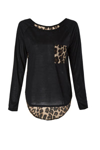 Stylish Scoop Neck Long Sleeves Spliced Leopard Print T-Shirt For Women