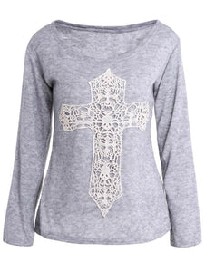 Casual Women's Scoop Neck Laced Crucifix Pattern Long Sleeve T-Shirt