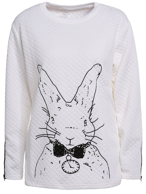Cute Women's Scoop Neck Rabbit Print Long Sleeve T-Shirt