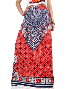 Material: Polyester,Spandex  Length: Floor-Length  Silhouette: A-Line  Pattern Type: Print  Season: Fall,Spring,Summer  Weight: 0.370kg  Package Contents: 1 x Skirt