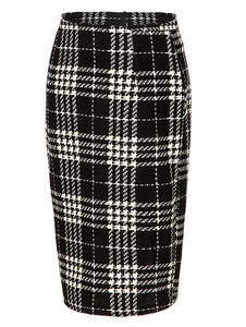 Material: Polyester,Spandex  Length: Knee-Length  Silhouette: Bodycon  Pattern Type: Plaid  Season: Fall  Weight: 0.192kg  Package Contents: 1 x Skirt