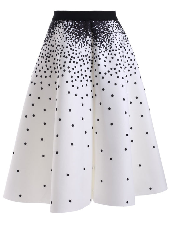 Material: Cotton Blends  Length: Knee-Length  Silhouette: A-Line  Pattern Type: Polka Dot  Season: Fall,Spring,Summer  Weight: 0.480kg  Package Contents: 1 x Skirt
