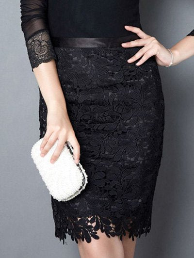 Material: Lace,Polyester  Length: Mini  Silhouette: Pencil  Pattern Type: Solid  Season: Fall,Spring,Summer  Weight: 0.252kg  Package Contents: 1 x Skirt