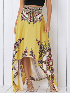 Material: Cotton,Polyester  Length: Floor-Length  Silhouette: Asymmetrical  Pattern Type: Print  Season: Fall,Summer  Weight: 0.470kg  Package Contents: 1 x Skirt