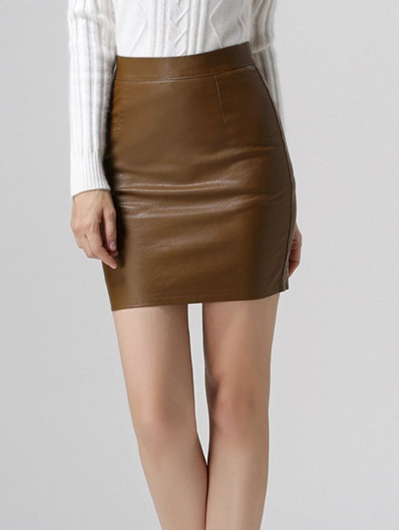 Material: Cotton Blends,Faux Leather  Length: Mini  Silhouette: Bodycon  Pattern Type: Solid  Season: Fall  Weight: 0.370kg  Package Contents: 1 x Skirt
