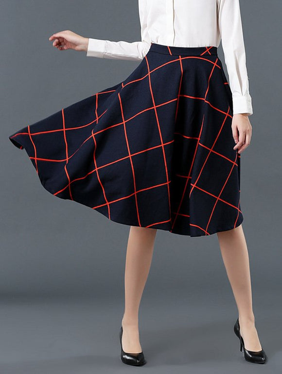 Material: Cotton Blends  Length: Knee-Length  Silhouette: A-Line  Pattern Type: Plaid  Season: Fall  Weight: 0.370kg  Package Contents: 1 x Skirt