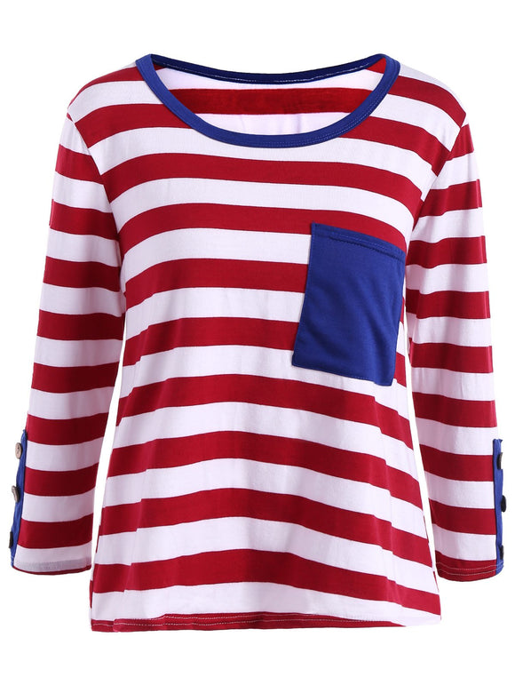 Front Pocket Fitted Stripe Long Sleeve T-Shirt