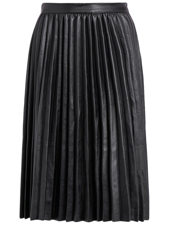 Material: Faux Leather  Length: Knee-Length  Silhouette: Pleated  Pattern Type: Solid  Season: Fall  With Belt: No  Weight: 0.520kg  Package Contents: 1 x Skirt