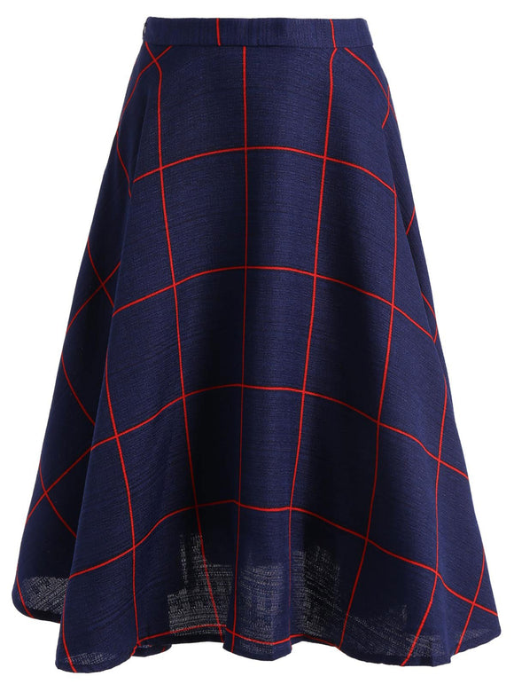 Material: Polyester  Length: Mid-Calf  Silhouette: A-Line  Pattern Type: Plaid  Season: Fall,Spring  Weight: 0.420kg  Package Contents: 1 x Skirt