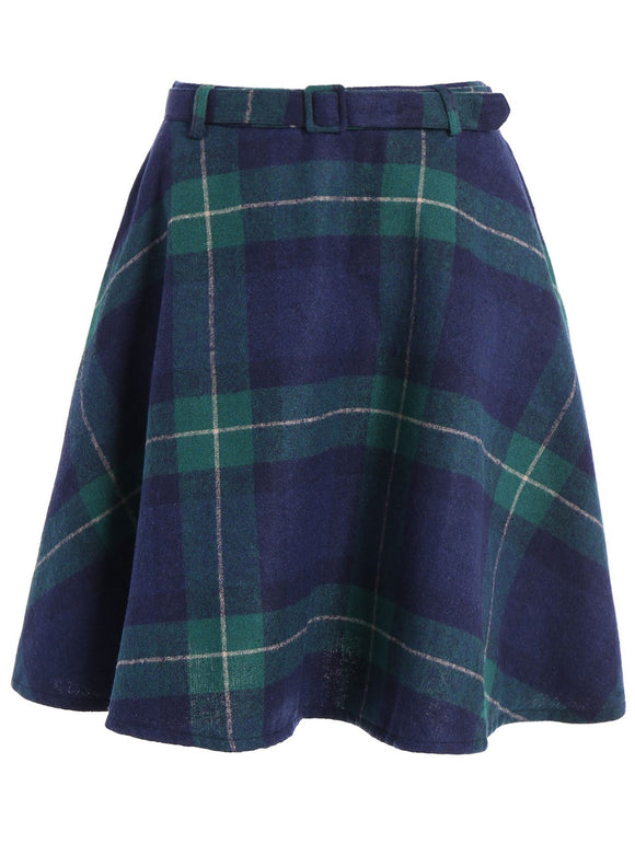 Material: Polyester  Length: Knee-Length  Silhouette: A-Line  Pattern Type: Plaid  Season: Fall,Winter  Weight: 0.470kg  Package Contents: 1 x Skirt