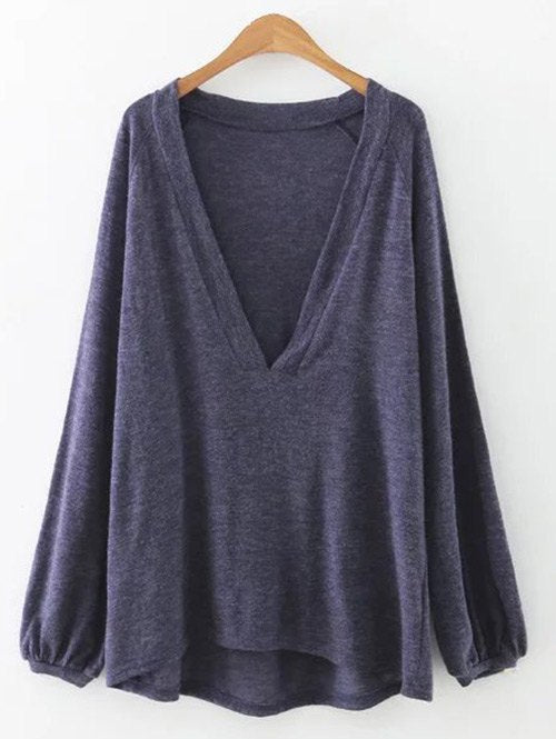 Lantern Sleeve Plunging Neck Tunic T-Shirt