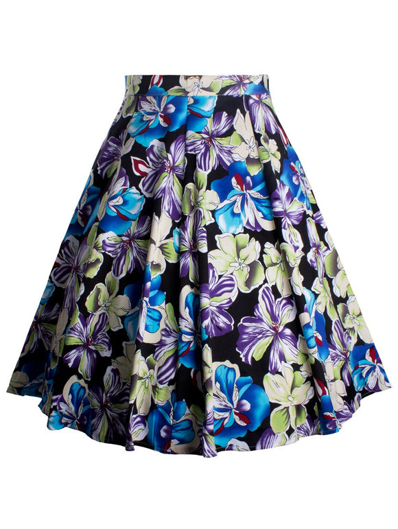 Material: Polyester  Length: Knee-Length  Silhouette: A-Line  Pattern Type: Floral  Season: Fall,Spring  Weight: 0.400kg  Package Contents: 1 x Skirt