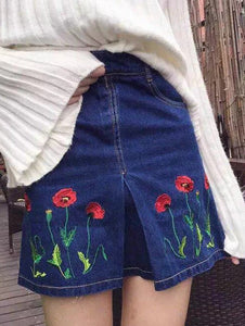 Material: Polyester  Fabric Type: Denim  Length: Mini  Silhouette: A-Line  Pattern Type: Floral  Embellishment: Embroidery  Season: Summer  Weight: 0.292kg  Package Contents: 1 x Skirt