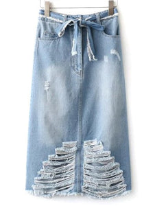 Material: Jeans  Length: Mid-Calf  Silhouette: A-Line  Pattern Type: Solid  Season: Fall,Spring  Weight: 0.420kg  Package Contents: 1 x Skirt  1 x Belt