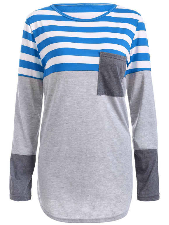 Striped Spliced Asymmetric Tee