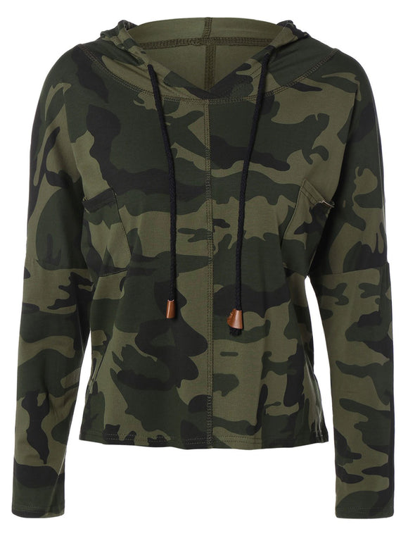 Autumn Pocket Drawstring Camouflage Pattern Hooded T-Shirt