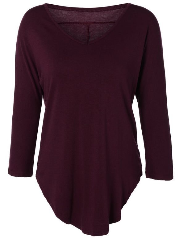 V-Neck 3/4 Sleeve High-Low Hem T-Shirt