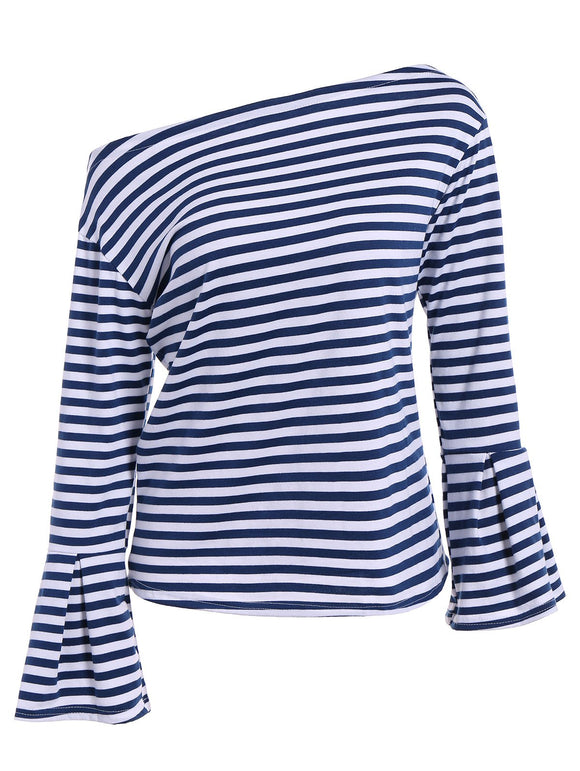 Fall Flare Sleeve Navy Stripe T-Shirt
