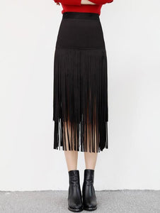 Material: Polyester  Length: Mid-Calf  Silhouette: A-Line  Pattern Type: Solid  Embellishment: Tassel  Season: Fall,Spring,Winter  Weight: 0.255kg  Package Contents: 1 x Skirt