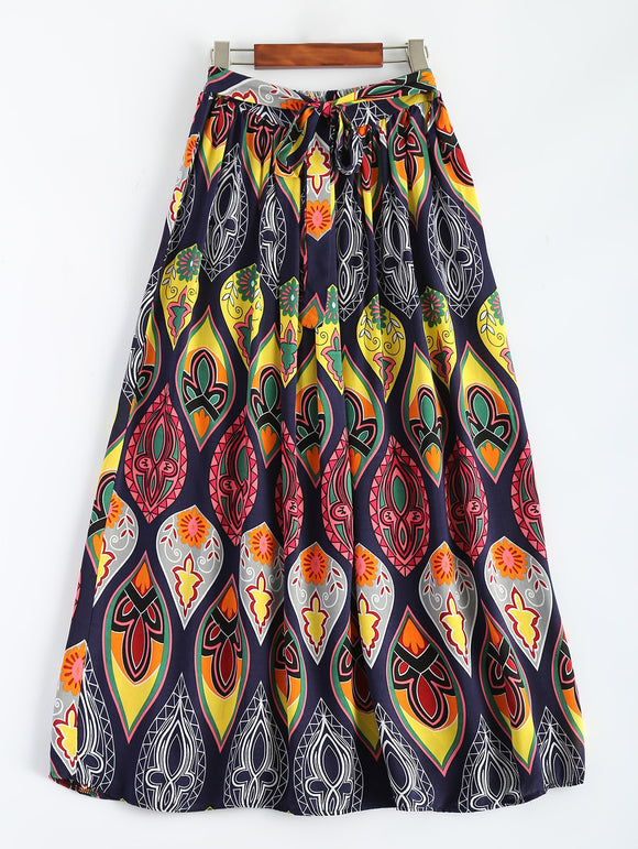 Material: Cotton Blends  Length: Ankle-Length  Silhouette: A-Line  Pattern Type: Print  Season: Fall,Winter  Weight: 0.225kg  Package Contents: 1 x Skirt