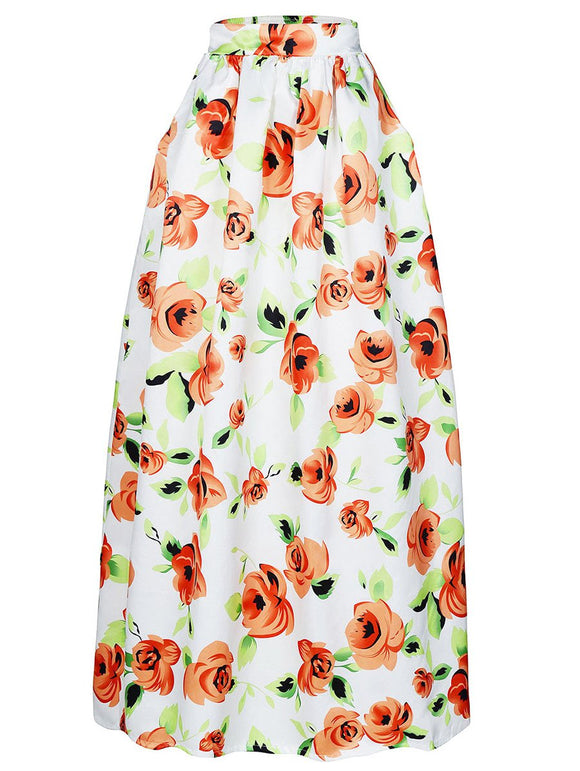 Material: Polyester  Length: Floor-Length  Silhouette: A-Line  Pattern Type: Floral  Season: Fall,Spring  Weight: 0.420kg  Package Contents: 1 x Skirt