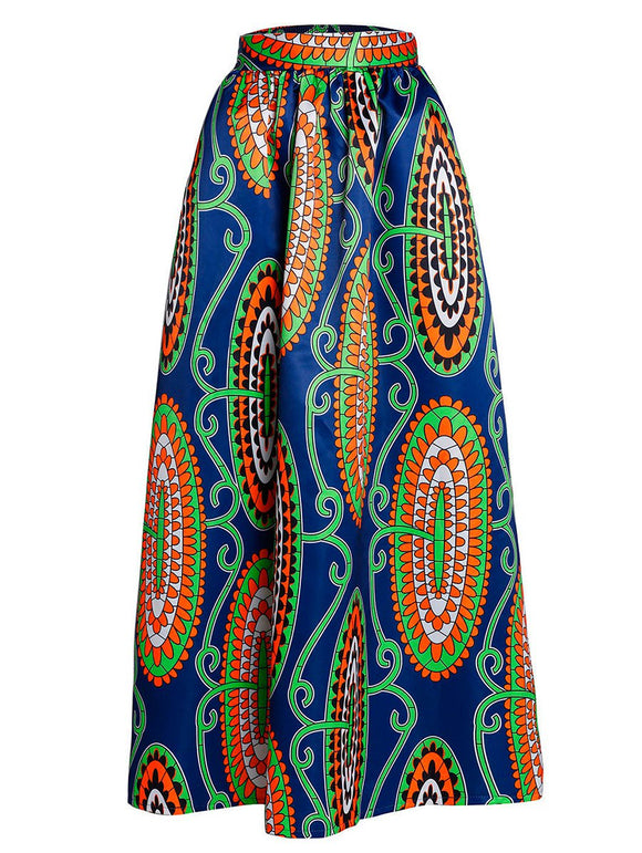 Material: Polyester  Length: Floor-Length  Silhouette: A-Line  Pattern Type: Print  Season: Fall,Spring  Weight: 0.420kg  Package Contents: 1 x Skirt