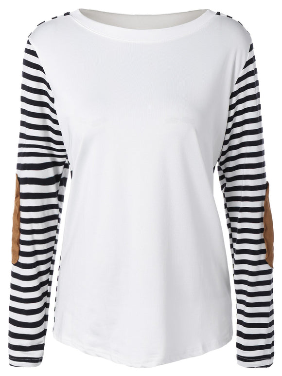 Long Sleeve Elbow Patch Striped T-Shirt