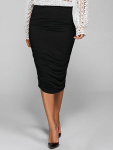 Material: Polyester  Length: Mid-Calf  Silhouette: Bodycon  Pattern Type: Solid  Embellishment: Ruched  Season: Summer  With Belt: No  Weight: 0.350kg  Package Contents: 1 x Skirt