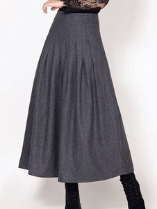 Material: Cotton Blends,Wool  Length: Ankle-Length  Silhouette: A-Line  Pattern Type: Solid  Embellishment: Pleated  Season: Fall,Spring,Winter  Weight: 0.570kg  Package Contents: 1 x Skirt