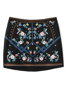 Material: Cotton Blends  Length: Mini  Silhouette: Pencil  Pattern Type: Floral  Embellishment: Embroidery  Season: Fall  With Belt: No  Weight: 0.370kg  Package Contents: 1 x Skirt