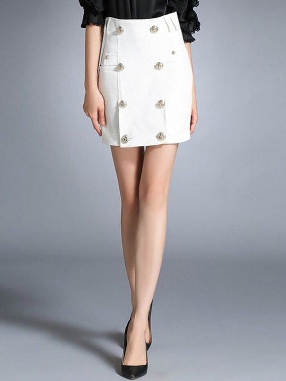 Material: Polyester  Length: Mini  Silhouette: Bodycon  Pattern Type: Solid  Embellishment: Button  Season: Fall,Spring,Winter  Weight: 0.500kg  Package Contents: 1 x Skirt