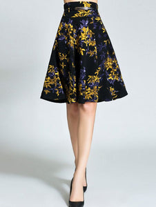 Material: Polyester  Length: Knee-Length  Silhouette: A-Line  Pattern Type: Floral  Season: Fall,Spring,Winter  Weight: 0.470kg  Package Contents: 1 x Skirt