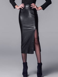 Material: Faux Leather  Length: Mid-Calf  Silhouette: Bodycon  Pattern Type: Solid  Season: Fall,Spring,Winter  Weight: 0.570kg  Package Contents: 1 x Skirt