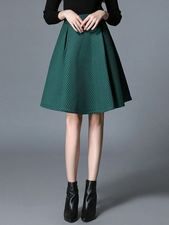 Material: Polyester  Length: Knee-Length  Silhouette: A-Line  Pattern Type: Others  Season: Fall,Spring,Winter  Weight: 0.470kg  Package Contents: 1 x Skirt