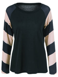 Striped Splicing Raglan Sleeve T-Shirt