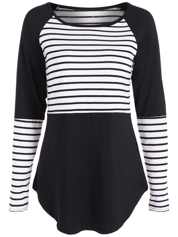 Raglan Sleeve Stripe Panel T Shirt