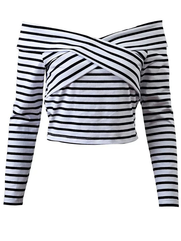 Front Criss Off Shoulder Striped T-Shirt