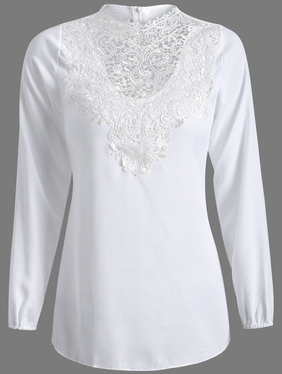 Lace Splicing Long Sleeve Jewel Neck Top