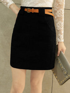 Material: Cotton,Cotton Blends,Polyester,Wool  Length: Mini  Silhouette: Bodycon  Pattern Type: Solid  Embellishment: Front Pocket  Season: Fall,Spring,Winter  With Belt: Yes  Weight: 0.410kg  Package Contents: 1 x Skirt  1 x Belt